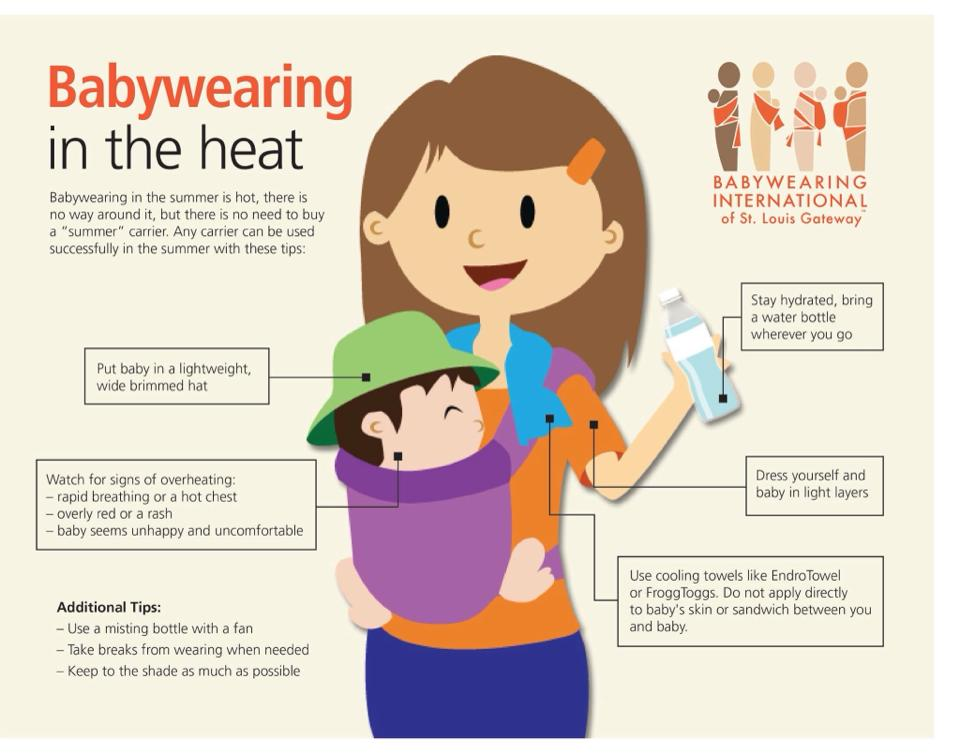 Handy tips for babywearing in the heat from BWI of St. Louis Gateway!
