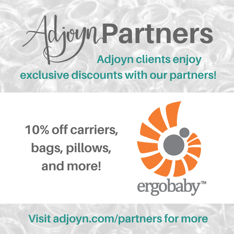 10% off Ergo carriers!! [Image is a graphic with text over a washed out image of a pile of rings. At the header is the Adjoyn logo and the word Partners, with text quote, Adjoyn clients enjoy exclusive discounts with our partners, end quote. At the footer of the image is text that reads quote, visit adjoyn dot com slash partners for more, end quote. The body of the image contains the Ergobaby logo and the text reads quote, 10 percent off baby carriers, bags, pillows, and more, end quote.]