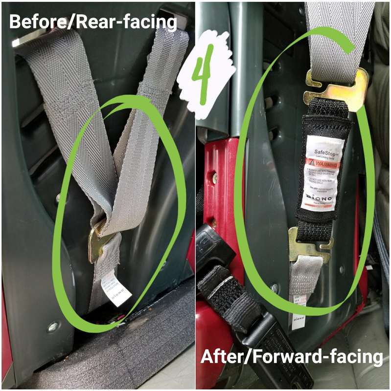 Adding the Diono SafeStop on a forward-facing car seat with a child under 40 pounds [Image is a collage of two photos. Both photos feature the harness system on the back of a convertible style car seat. Text on the left photo reads quote Before/Rear-facing, end quote. Text on the right side photo reads quote After/Forward-facing, end quote. There's a green number 4 at the top of the image and a green circles drawn on both photos, highlighting where the harness shoulder straps connect to the harness adjuster webbing. In the left/rear-facing photo, the two pieces connect together. In the right/forward-facing photo, there is an extra piece, the Diono SafeStop, connecting the two pieces of webbing.]
