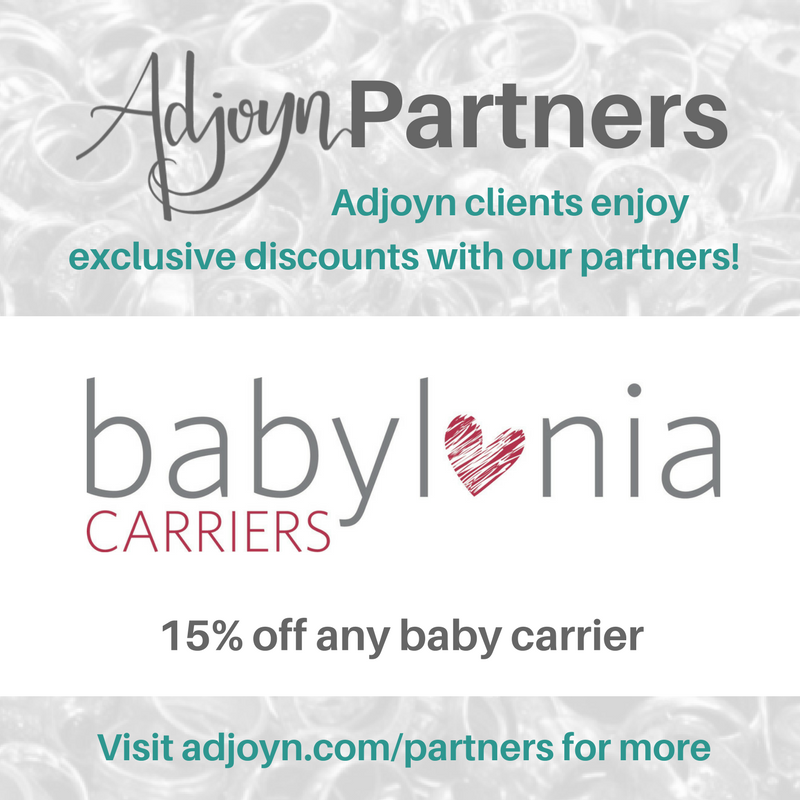 Adjoyn Partners with Babylonia baby carriers [Image is a graphic with text over a washed out image of a pile of rings. At the header is the Adjoyn logo and the word Partners, with text quote, Adjoyn clients enjoy exclusive discounts with our partners, end quote. At the footer of the image is text that reads quote, visit adjoyn dot com slash partners for more, end quote. The body of the image contains the Babylonia carriers logo and the text reads quote, 15 percent off any baby carrier, end quote.]
