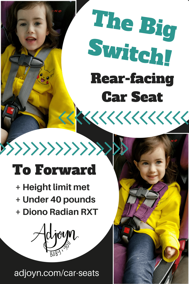 Ready to move from rear facing to forward facing car seat? Here's how we did it with a child under 40 pounds. From a Certified Child Passenger Safety Technician (CPST) [Image is a graphic with photos and text. Two photos feature a young white girl with light brown hair wearing a yellow hoodie. The first photo in the upper left corner shows the girl in a rear-facing seat without a harness pad. Text next to the photo reads quote, The Big Switch! Rear-facing car seat, end quote, and there are arrows pointing to the first photo. The second photo is in the lower right corner and shows the girl in a forward-facing seat with a purple harness pad around the chest clip. Text next to the photo is bullet points with the header, To Foward. The bullet points read quote, one, height limit met; two, under 40 pounds; three, diono radian rxt, end quote. The Adjoyn logo is below with text underneath that reads quote, baby plus you, end quote. A web url is at the footer of the image, adjoyn.com/car-seats.]